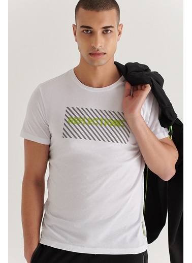 Avva A11Y1002 Bisiklet Yaka Reflektör Detaylı Baskılı T-Shirt A11Y1002 Beyaz